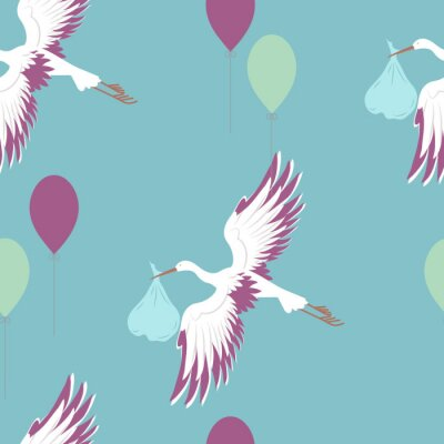 Fototapete Seamless pattern with stork and balloons