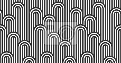 Fototapete Seamless pattern with twisted lines, vector linear tiling background, stripy weaving, optical maze, twisted stripes. Black and white design.