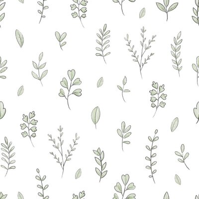 Fototapete Seamless pattern with varied simple small plants and leaves isolated on white background. Watercolor hand drawn illustration