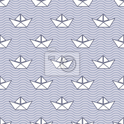 Fototapete Seamless pattern with white paper boats on waves. Baby style vector illustration. Origami ship seamless background.