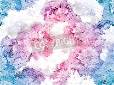 Fototapete Seamless peony mosaic. Pink blue flower pattern. Peony texture