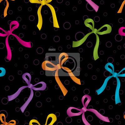 Seamless polka dot bows pattern