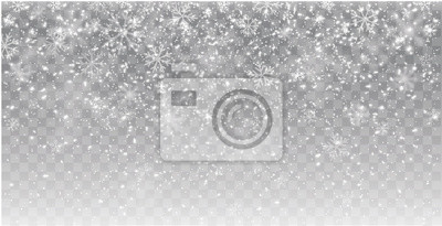 Fototapete Seamless realistic falling snow or snowflakes. Isolated on transparent background - stock vector.