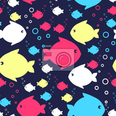 Fototapete Seamless sea pattern with colorful fishes. Marine life Background Collection. Baby shower vector illustration.