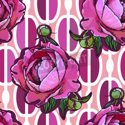 Fototapete Seamless trend pattern - peony flower on ornamental background. Vintage style