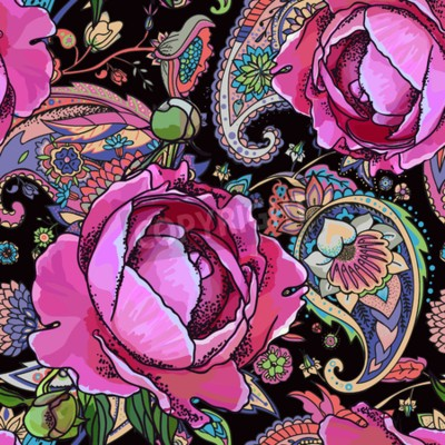Fototapete Seamless trend pattern - peony flowers and paisley.