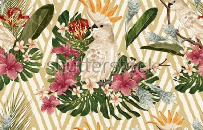 Fototapete Seamless tropical pattern background with tropical flowers and cockatoo bird. Tropicana wallpaper, digital paper, raster illustration in vintage Hawaiian style.