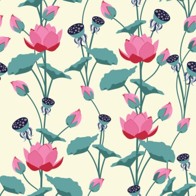 Fototapete Seamless vector illustration with delicate lotus flowers.