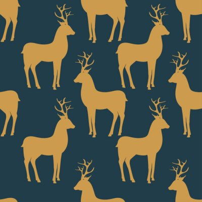 Fototapete Seamless vector pattern with deer