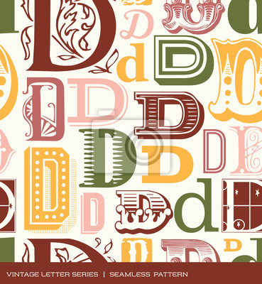 Seamless vintage pattern letter D in retro colors