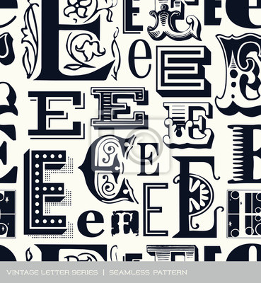 Seamless vintage pattern letter E