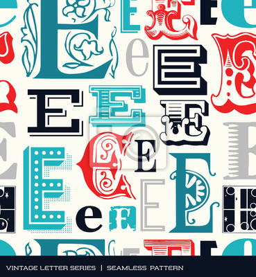 Seamless vintage pattern letter E in retro colors