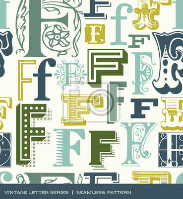 Seamless vintage pattern letter f in retro colors