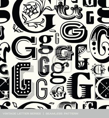 Seamless vintage pattern letter G