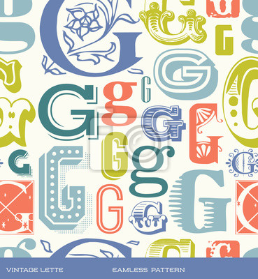 Seamless vintage pattern letter G in retro colors