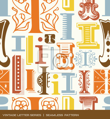 Seamless vintage pattern letter i in retro colors