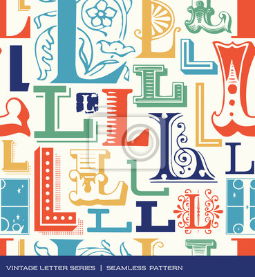 Seamless vintage pattern letter L in retro colors