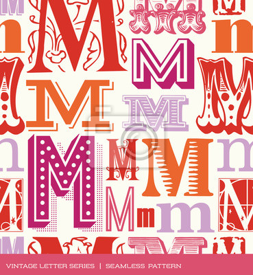 Seamless vintage pattern letter M in retro colors