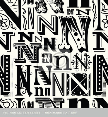 Seamless vintage pattern letter N