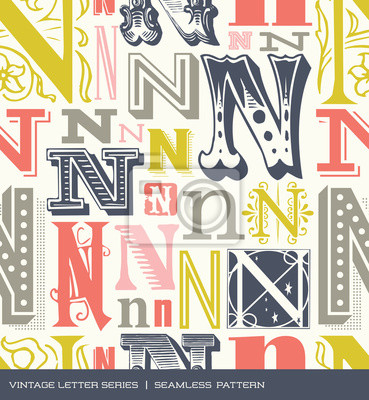 Seamless vintage pattern letter N in retro colors