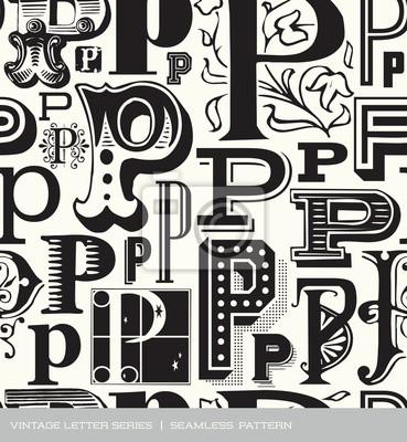 Seamless vintage pattern letter P