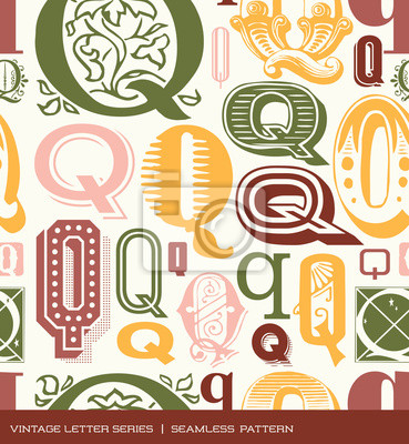 Seamless vintage pattern letter Q in retro colors