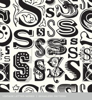 Seamless vintage pattern letter S