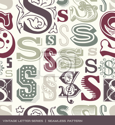 Seamless vintage pattern letter S in retro colors