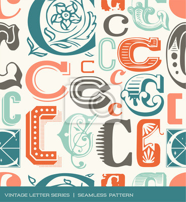 Seamless vintage pattern of letter C in retro colors