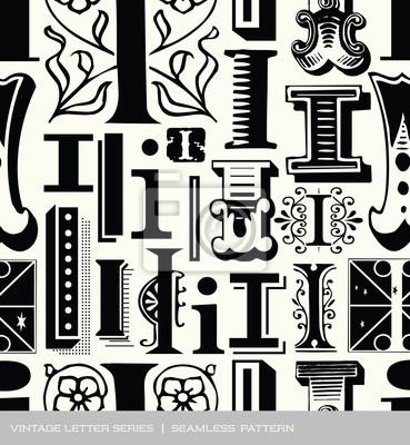 Seamless vintage pattern of letter i