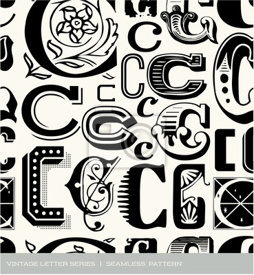 Seamless vintage pattern of the letter C