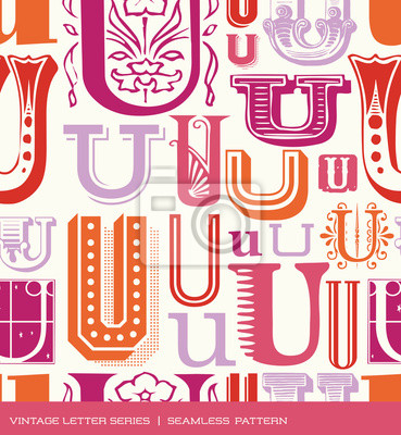 Seamless vintage pattern of the letter U in retro colors