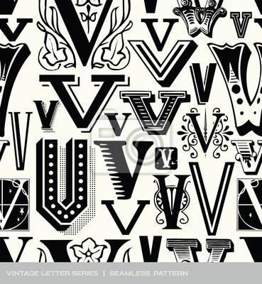 Seamless vintage pattern of the letter V