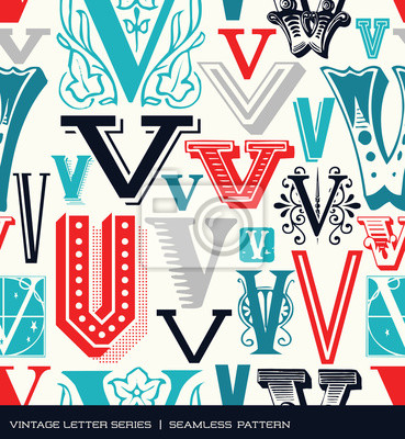 Seamless vintage pattern of the letter V in retro colors