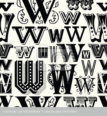 Seamless vintage pattern of the letter W