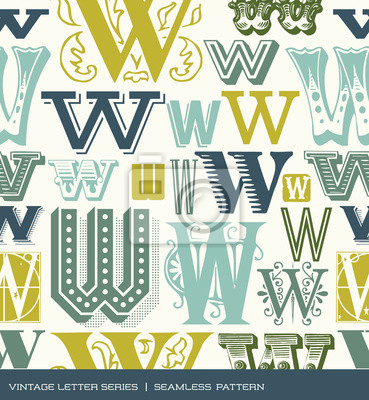 Seamless vintage pattern of the letter W in retro colors