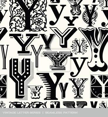 Seamless vintage pattern of the letter Y