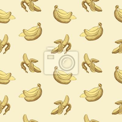 Seamless wallpaper pattern with bananas engraving drawing.