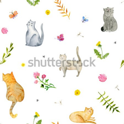 Fototapete Seamless watercolor pattern with cats and flowers on white background. Stock illustration.
