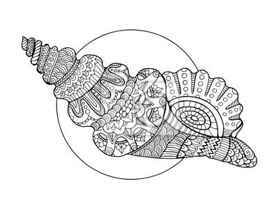 Seashell Ausmalbilder Vektor-Illustration