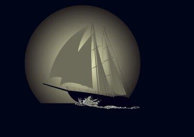Fototapete Segelboot vor dem Hintergrund des Mondes