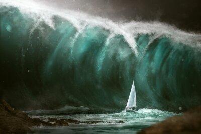 Fototapete Segelboot vor einem Tsunami