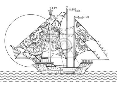 Segeln Schiffszeichnung Färbung Buch Vektor