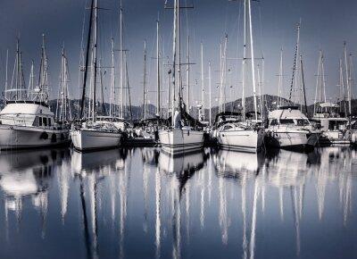 Fototapete Segelschiff Hafen im Abendlicht