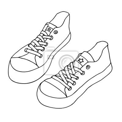 Fototapete Segeltuchschuhe. Paar Schuhe isoliert auf weißem Hintergrund.  Handgezeichnete Vektor Skizze 2eb5d28874