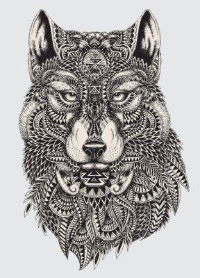 Fototapete Sehr detaillierte abstrakte Wolf illustration