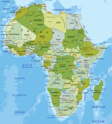 Fototapete Sehr detaillierte editierbare politische Karte. Afrika.