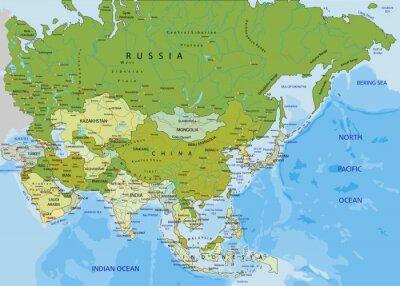 Politische Karte Asien.Fototapete Sehr Detaillierte Editierbare Politische Karte Asien
