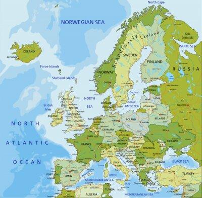 Fototapete Sehr detaillierte editierbare politische Karte. Europa.