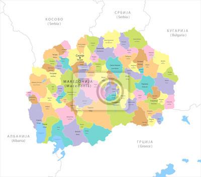 Mazedonien Karte.Fototapete Sehr Detaillierte Politische Karte Von Mazedonien Vector